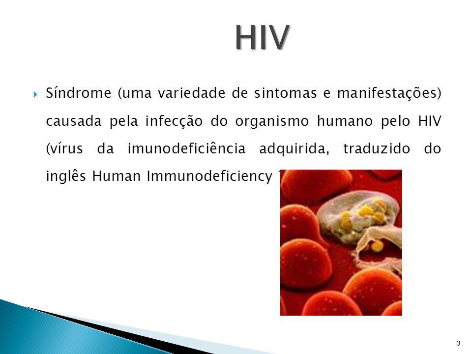  Síndrome (uma variedade de sintomas e manifestações) causada pela infecção do organismo humano pelo HIV (vírus da imunodeficiência adquirida, traduz