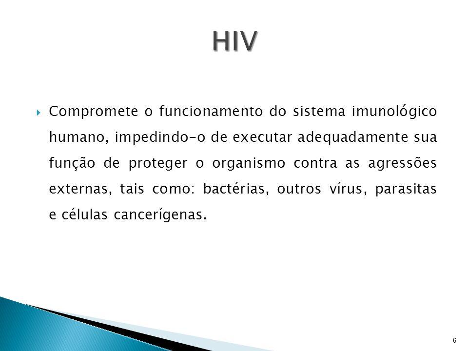  Compromete o funcionamento do sistema imunológico humano, impedindo-o de executar adequadamente sua função de proteger o organismo contra as agressõ