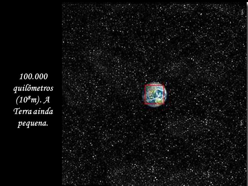 1 milhão de quilômetros (10 9 m) Pode ser vista a órbita da Lua.