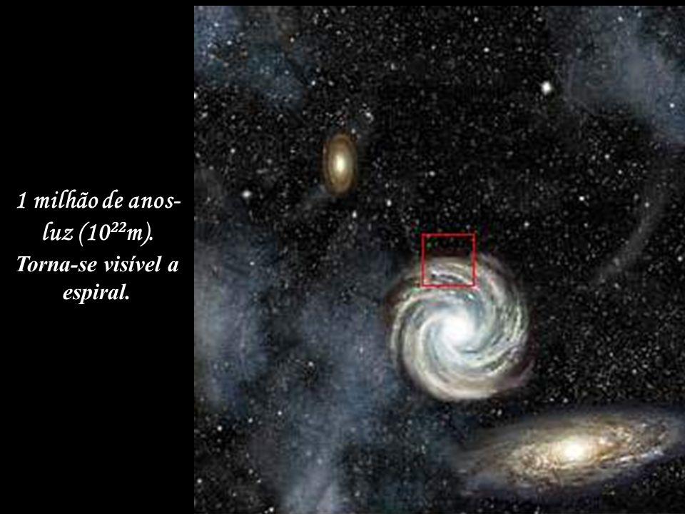 1 milhão de anos- luz (10 22 m). Torna-se visível a espiral.