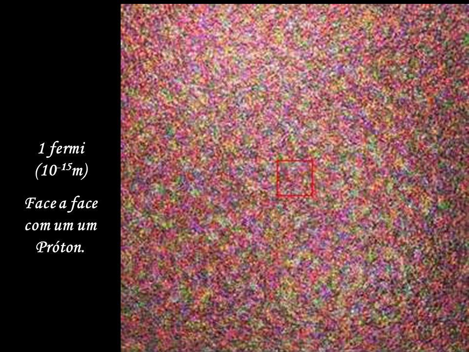 10 fermis (10 -14 m) O Núcleo de um átomo de Carbono.