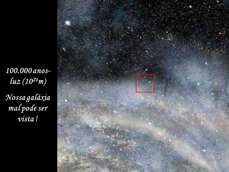 100.000 anos- luz (10 21 m) Nossa galáxia mal pode ser vista !
