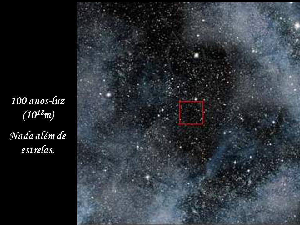 1.000 anos-luz (10 19 m) As estrelas, dez vezes mais perto.