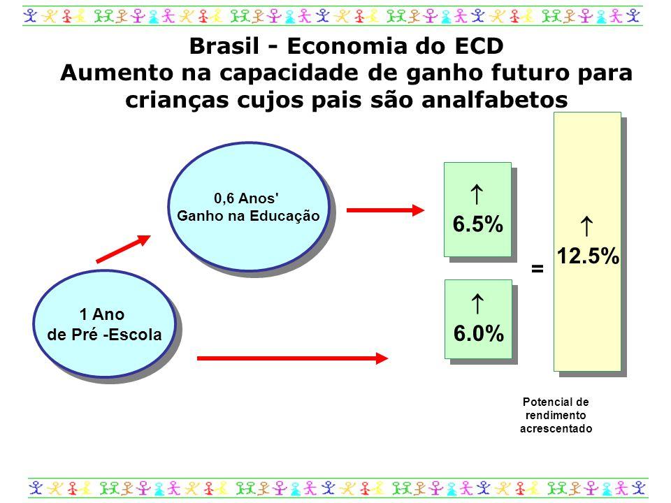  12.5%  12.5%  6.5%  6.5%  6.0%  6.0% 1 Ano de Pré -Escola 0,6 Anos Ganho na Educação = Brasil - Economia do ECD Aumento na capacidade de ganho futuro para crianças cujos pais são analfabetos Potencial de rendimento acrescentado
