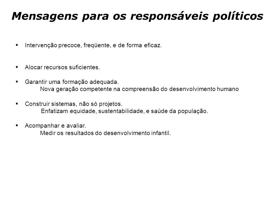 Mensagens para os responsáveis políticos  Intervenção precoce, freqüente, e de forma eficaz.