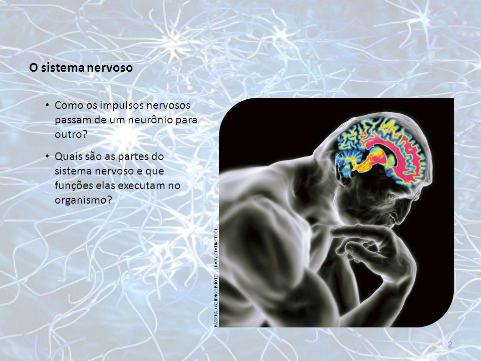 O sistema nervoso Como os impulsos nervosos passam de um neurônio para outro? PASIEKA / SCIENCE PHOTO LIBRARY / LATINSTOCK 2 Quais são as partes do si
