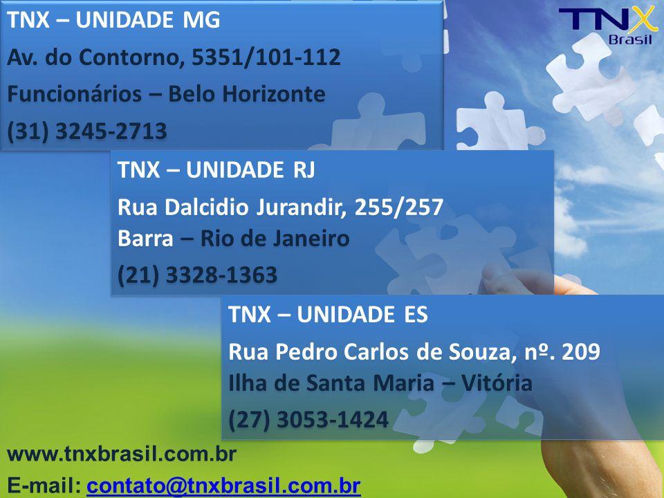 TNX – UNIDADE MG Av. do Contorno, 5351/101-112 Funcionários – Belo Horizonte (31) 3245-2713 TNX – UNIDADE MG Av. do Contorno, 5351/101-112 Funcionário
