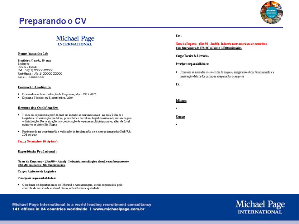 Preparando o CV