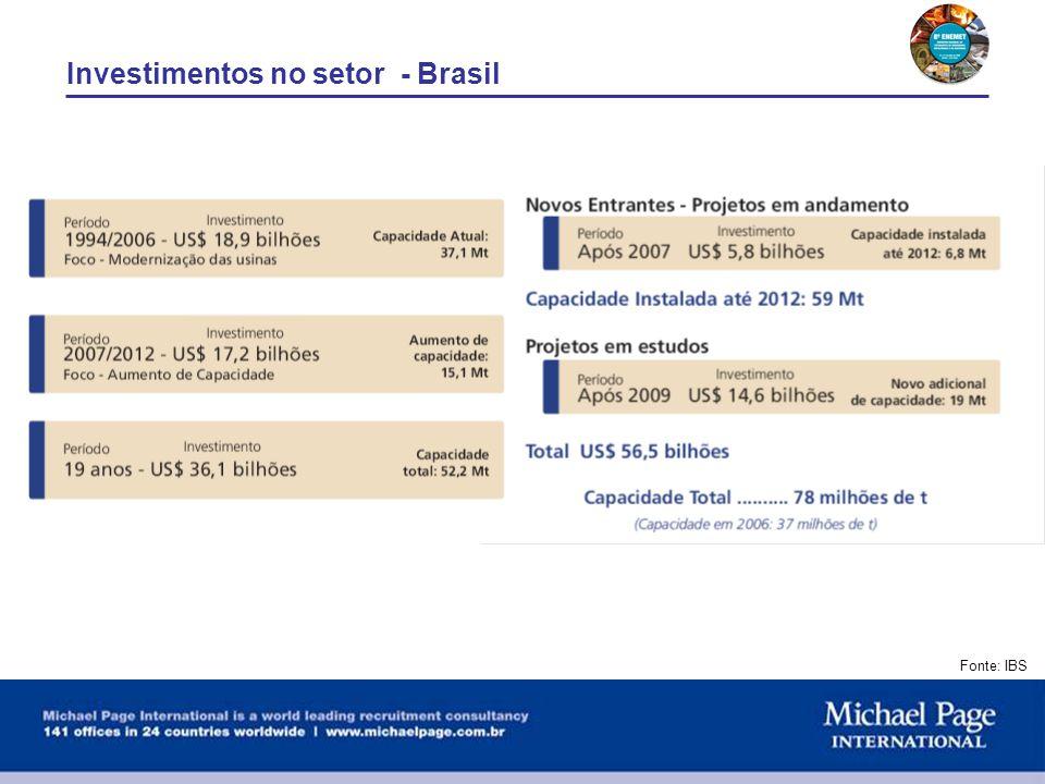 Investimentos no setor - Brasil Fonte: IBS