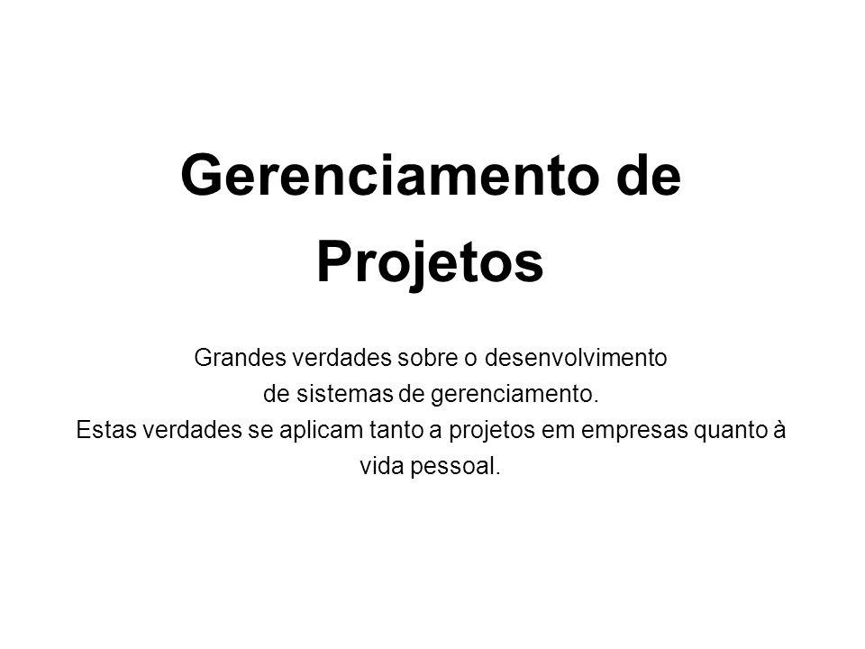 0 Gerenciamento de Projetos Grandes verdades sobre o desenvolvimento de sistemas de gerenciamento.