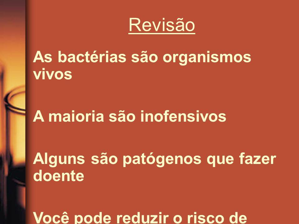 As bactérias são organismos vivos A maioria são inofensivos Alguns são patógenos que fazer doente Você pode reduzir o risco de adoecer por lavar as mã