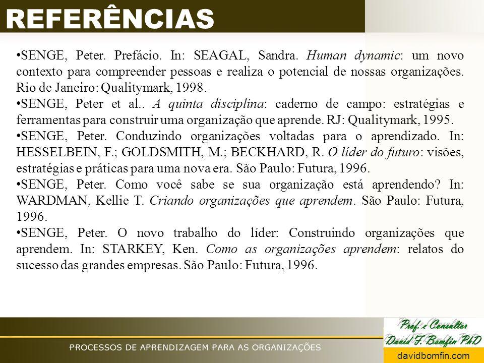 REFERÊNCIAS SENGE, Peter. Prefácio. In: SEAGAL, Sandra.