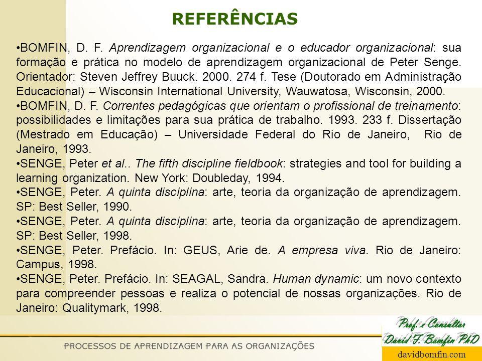REFERÊNCIAS BOMFIN, D. F. Aprendizagem organizacional e o educador organizacional: sua formação e prática no modelo de aprendizagem organizacional de