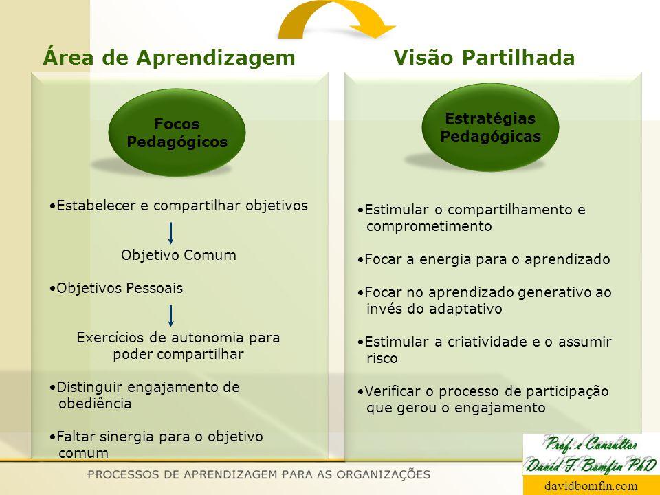 Focos Pedagógicos Estratégias Pedagógicas Estabelecer e compartilhar objetivos Objetivo Comum Estimular o compartilhamento e comprometimento Focar a e