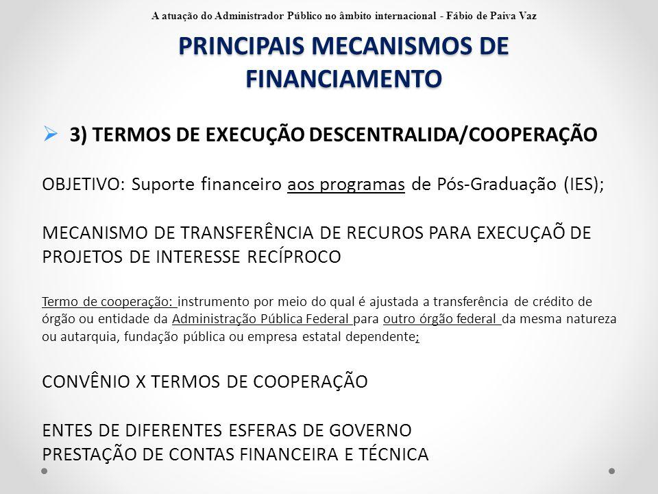 PRINCIPAIS MECANISMOS DE FINANCIAMENTO  3) TERMOS DE EXECUÇÃO DESCENTRALIDA/COOPERAÇÃO OBJETIVO: Suporte financeiro aos programas de Pós-Graduação (I