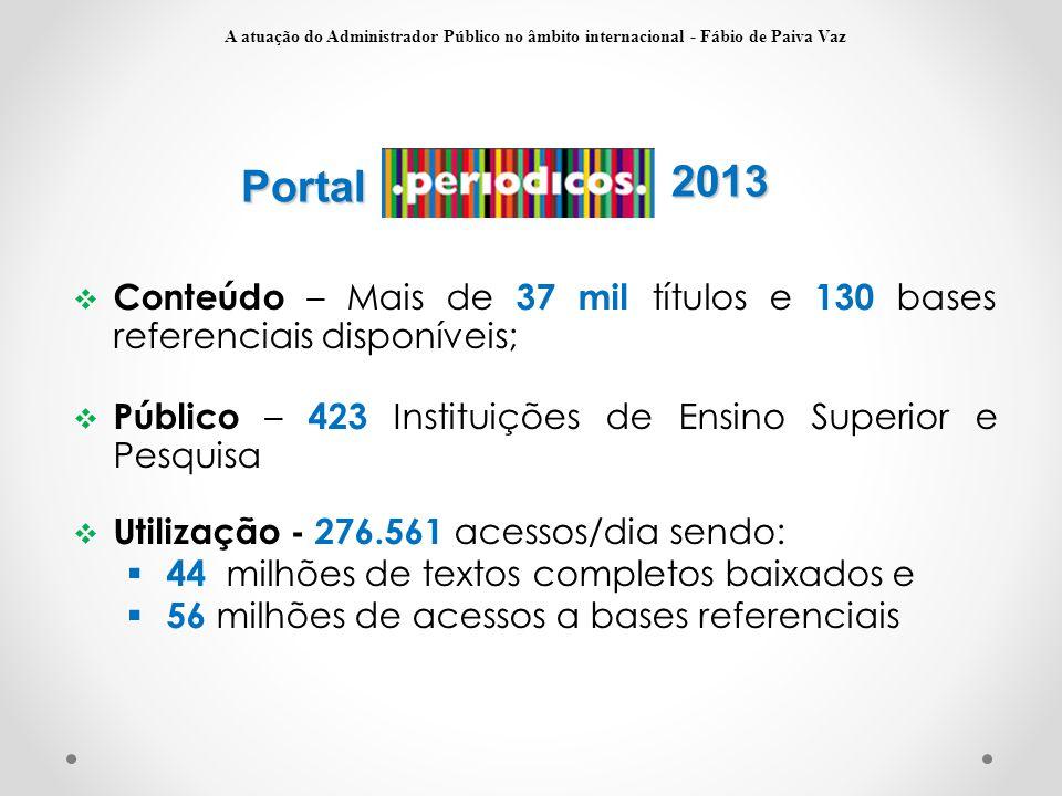 Portal  Conteúdo – Mais de 37 mil títulos e 130 bases referenciais disponíveis;  Público – 423 Instituições de Ensino Superior e Pesquisa  Utilizaç