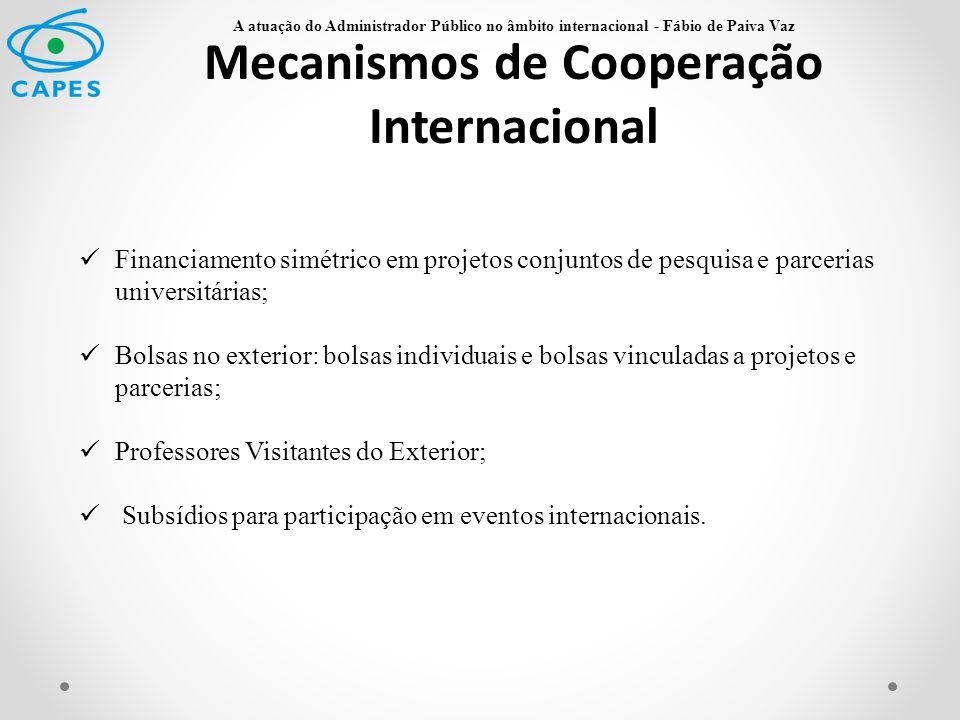 Mecanismos de Cooperação Internacional Financiamento simétrico em projetos conjuntos de pesquisa e parcerias universitárias; Bolsas no exterior: bolsa