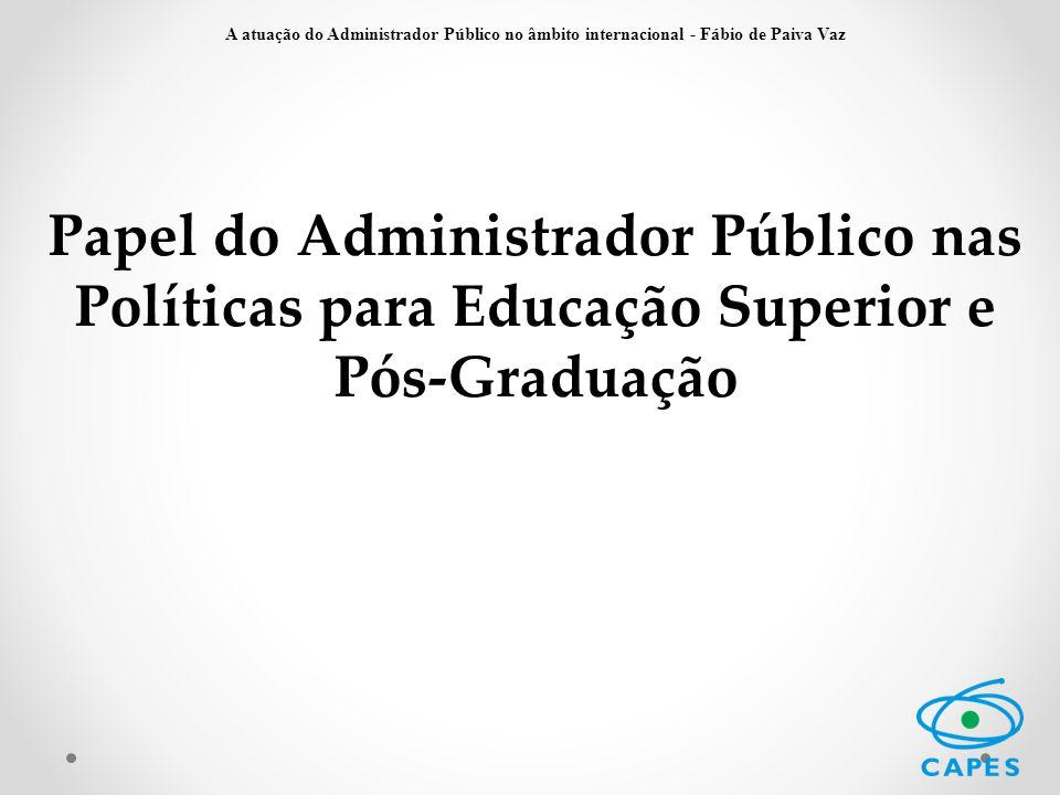 Papel do Administrador Público nas Políticas para Educação Superior e Pós-Graduação A atuação do Administrador Público no âmbito internacional - Fábio