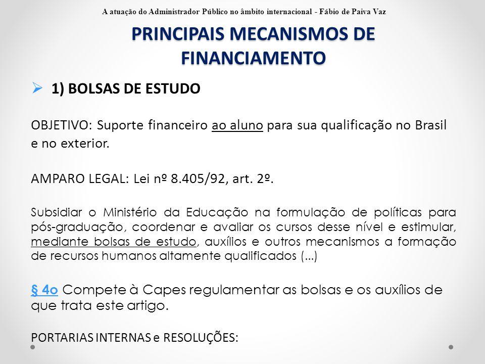 PRINCIPAIS MECANISMOS DE FINANCIAMENTO  1) BOLSAS DE ESTUDO OBJETIVO: Suporte financeiro ao aluno para sua qualificação no Brasil e no exterior. AMPA