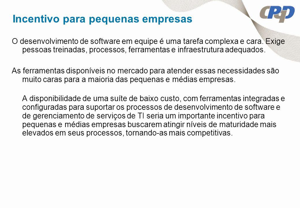 Objetivo do Projeto Tornar acessível a pequenas empresas uma suíte integrada de ferramentas que suporte os processos de desenvolvimento de software e de gerenciamento de serviços de TI aderentes às melhores práticas, modelos, metodologias e normas, como: Desenvolvimento de software: MPS.BR, CMMI e ISO9000 Metodologias ágeis: Scrum Serviços de TI: ITIL, NBR ISO/IEC 20000