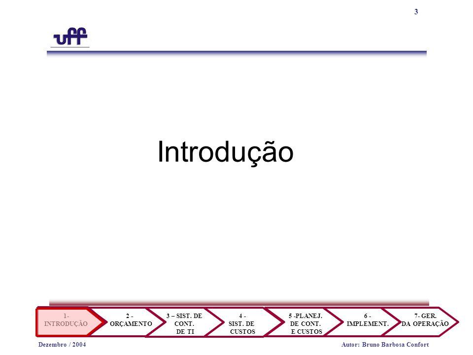 14 1- INTRODUÇÃO 2 - ORÇAMENTO 3 – SIST.DE CONT. DE TI 4 - SIST.