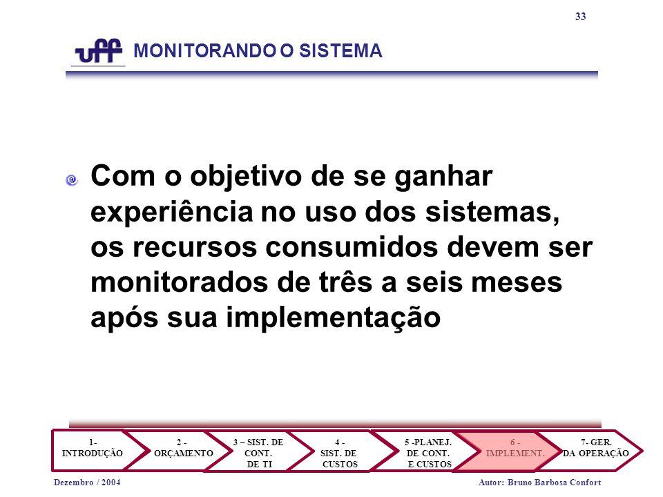 33 1- INTRODUÇÃO 2 - ORÇAMENTO 3 – SIST.DE CONT. DE TI 4 - SIST.