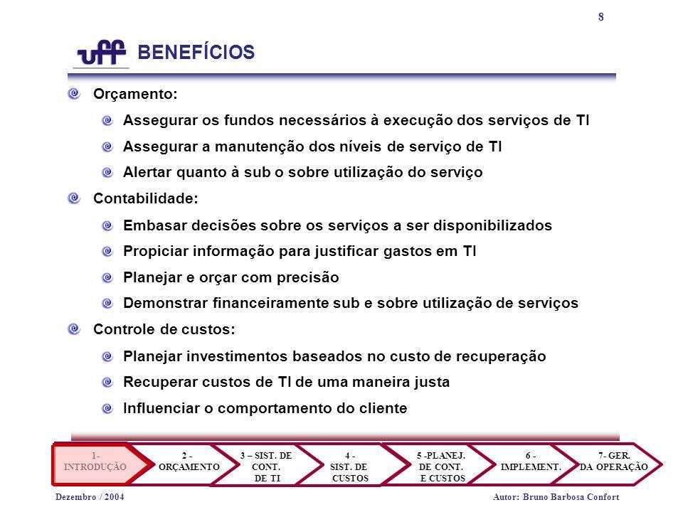 8 1- INTRODUÇÃO 2 - ORÇAMENTO 3 – SIST. DE CONT. DE TI 4 - SIST.