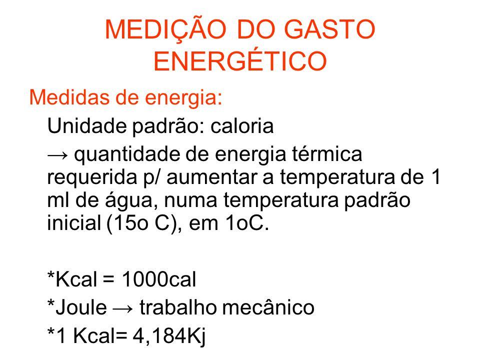 MEDIÇÃO DO GASTO ENERGÉTICO Medidas de energia: Unidade padrão: caloria → quantidade de energia térmica requerida p/ aumentar a temperatura de 1 ml de