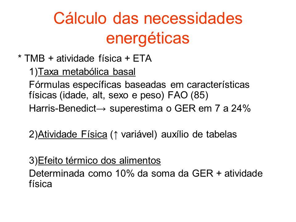 Cálculo das necessidades energéticas * TMB + atividade física + ETA 1)Taxa metabólica basal Fórmulas específicas baseadas em características físicas (