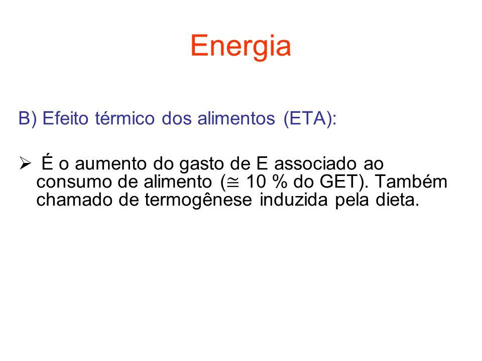 Energia B) Efeito térmico dos alimentos (ETA):  É o aumento do gasto de E associado ao consumo de alimento ( ≅ 10 % do GET). Também chamado de termog