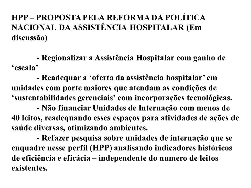 HPP – PROPOSTA PELA REFORMA DA POLÍTICA NACIONAL DA ASSISTÊNCIA HOSPITALAR (Em discussão) - Regionalizar a Assistência Hospitalar com ganho de 'escala
