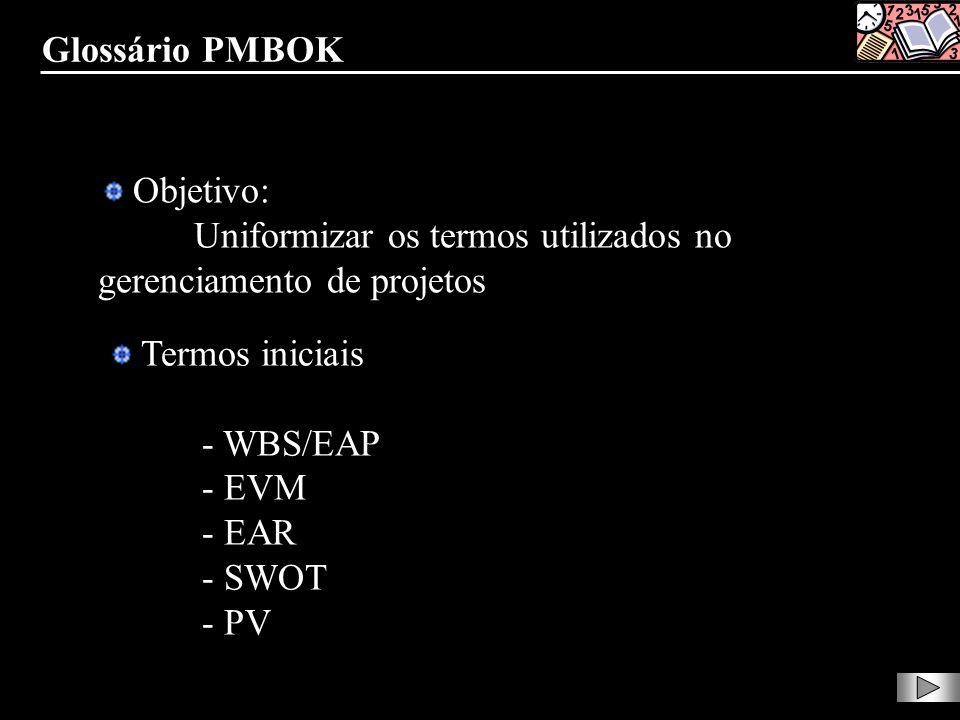 Objetivo: Uniformizar os termos utilizados no gerenciamento de projetos Termos iniciais - WBS/EAP - EVM - EAR - SWOT - PV Glossário PMBOK