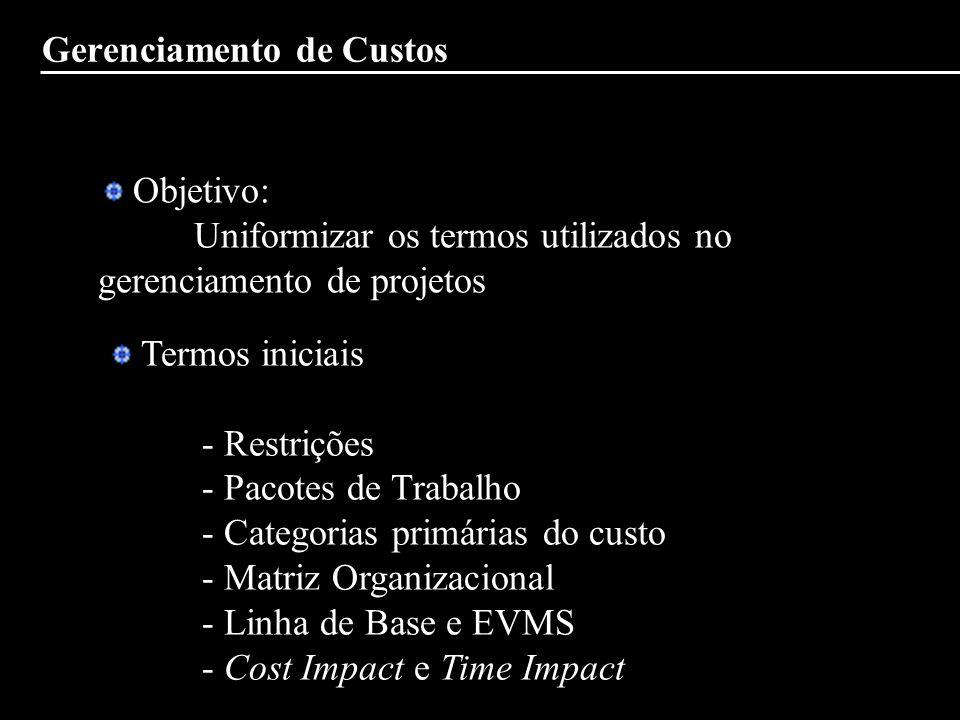 Gerenciamento de Custos Objetivo: Uniformizar os termos utilizados no gerenciamento de projetos Termos iniciais - Restrições - Pacotes de Trabalho - C