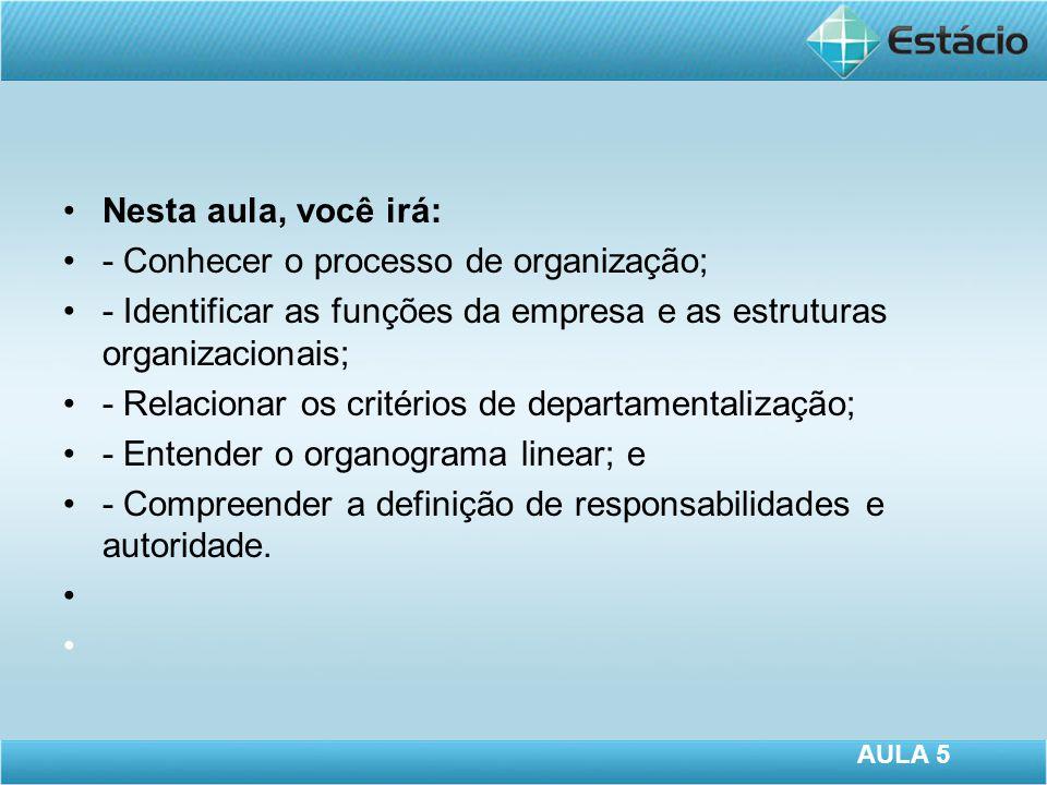 Nesta aula, você irá: - Conhecer o processo de organização; - Identificar as funções da empresa e as estruturas organizacionais; - Relacionar os critérios de departamentalização; - Entender o organograma linear; e - Compreender a definição de responsabilidades e autoridade.