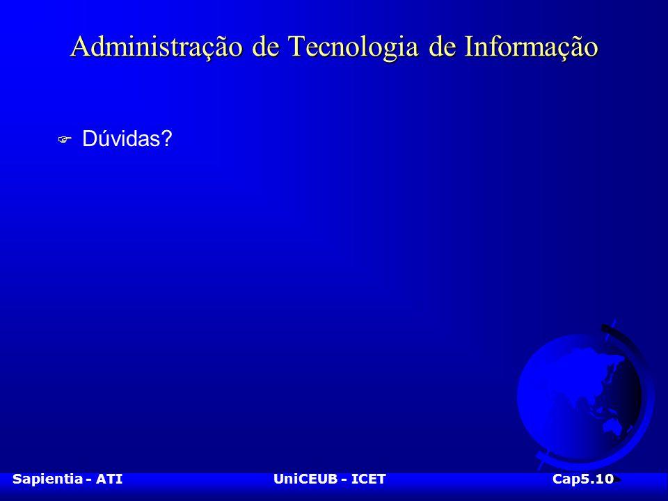 Sapientia - ATIUniCEUB - ICETCap5.10 Administração de Tecnologia de Informação F Dúvidas