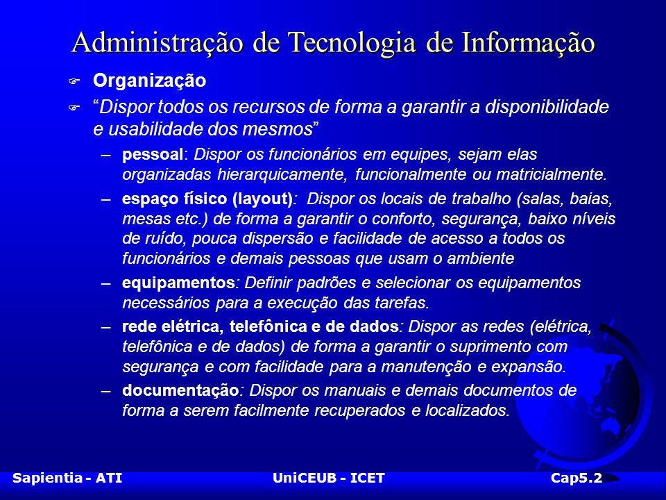 Sapientia - ATIUniCEUB - ICETCap5.2 Administração de Tecnologia de Informação F Organização F Dispor todos os recursos de forma a garantir a disponibilidade e usabilidade dos mesmos –pessoal: Dispor os funcionários em equipes, sejam elas organizadas hierarquicamente, funcionalmente ou matricialmente.