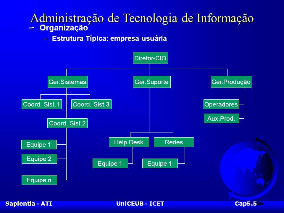 Sapientia - ATIUniCEUB - ICETCap5.5 Administração de Tecnologia de Informação F Organização –Estrutura Típica: empresa usuária Diretor-CIO Ger.ProduçãoGer.Suporte Coord.