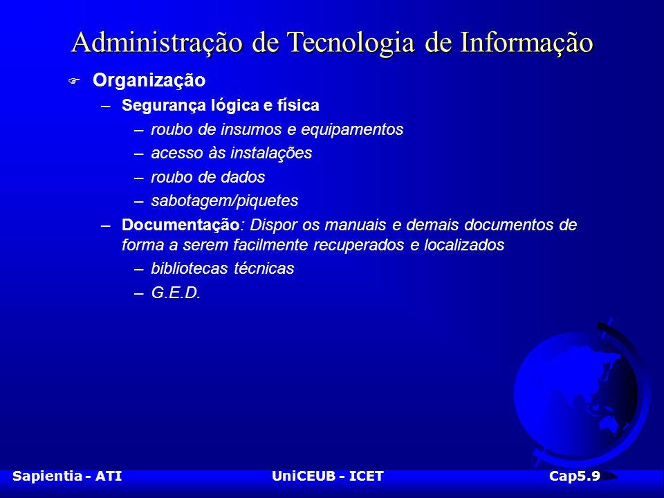 Sapientia - ATIUniCEUB - ICETCap5.10 Administração de Tecnologia de Informação F Dúvidas?