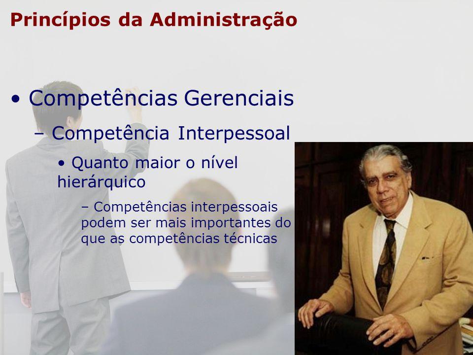 Princípios da Administração Competências Gerenciais – Competência Interpessoal Quanto maior o nível hierárquico – Competências interpessoais podem ser