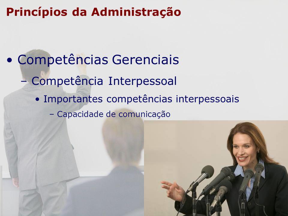 Princípios da Administração Competências Gerenciais – Competência Interpessoal Importantes competências interpessoais – Capacidade de comunicação