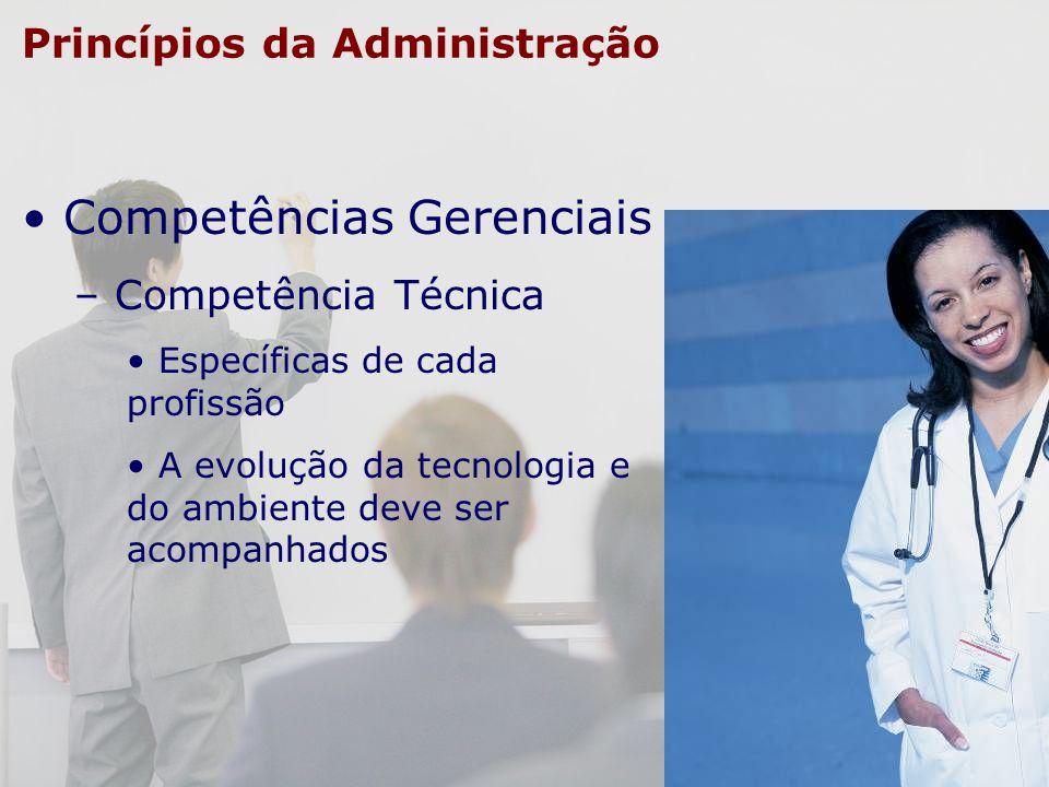 Princípios da Administração Competências Gerenciais – Competência Técnica Específicas de cada profissão A evolução da tecnologia e do ambiente deve se