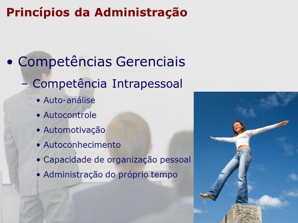 Princípios da Administração Competências Gerenciais – Competência Intrapessoal Auto-análise Autocontrole Automotivação Autoconhecimento Capacidade de
