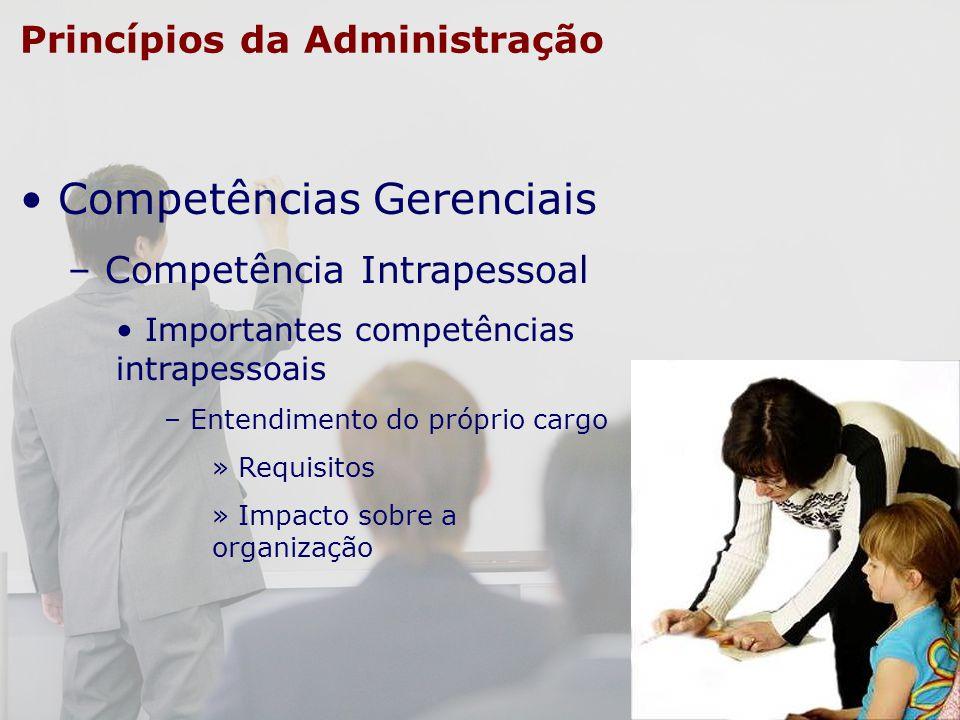 Princípios da Administração Competências Gerenciais – Competência Intrapessoal Importantes competências intrapessoais – Entendimento do próprio cargo