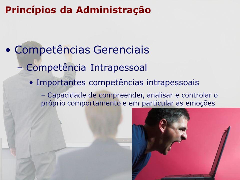 Princípios da Administração Competências Gerenciais – Competência Intrapessoal Importantes competências intrapessoais – Capacidade de compreender, ana