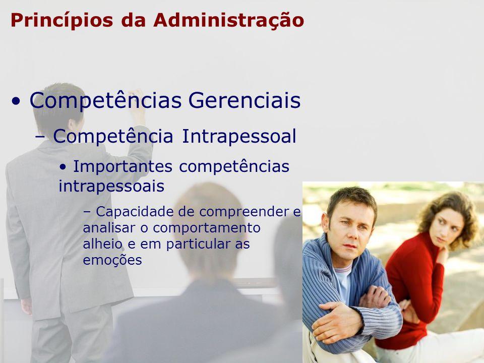 Princípios da Administração Competências Gerenciais – Competência Intrapessoal Importantes competências intrapessoais – Capacidade de compreender e an