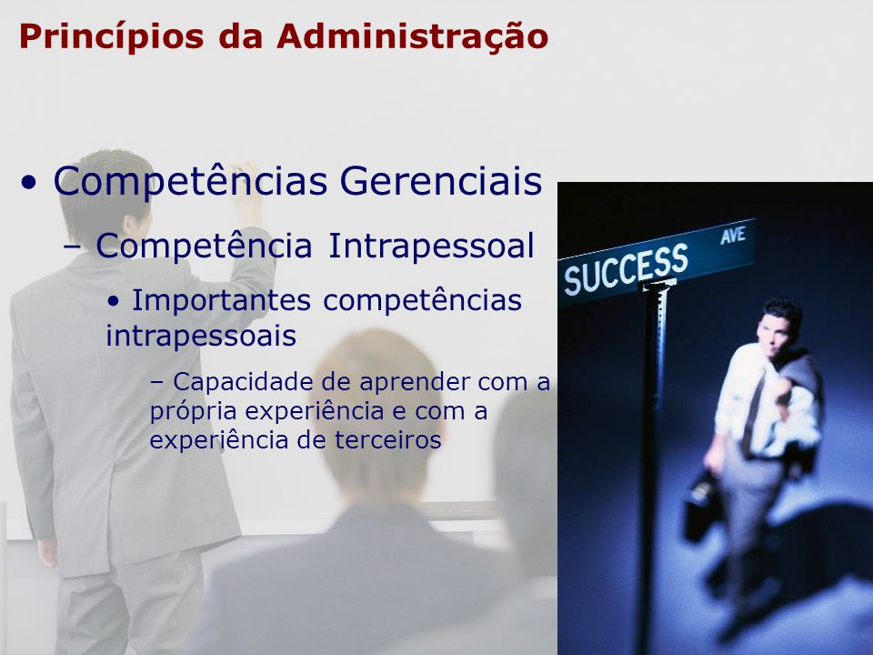 Princípios da Administração Competências Gerenciais – Competência Intrapessoal Importantes competências intrapessoais – Capacidade de aprender com a p