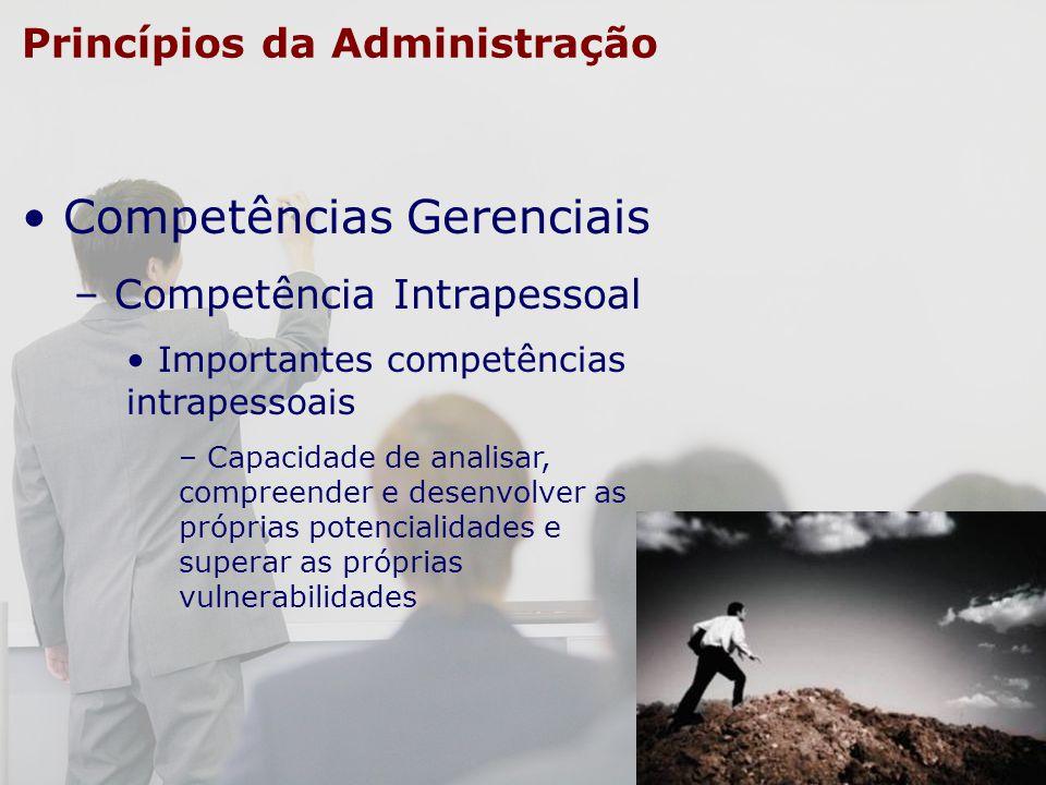Princípios da Administração Competências Gerenciais – Competência Intrapessoal Importantes competências intrapessoais – Capacidade de analisar, compre