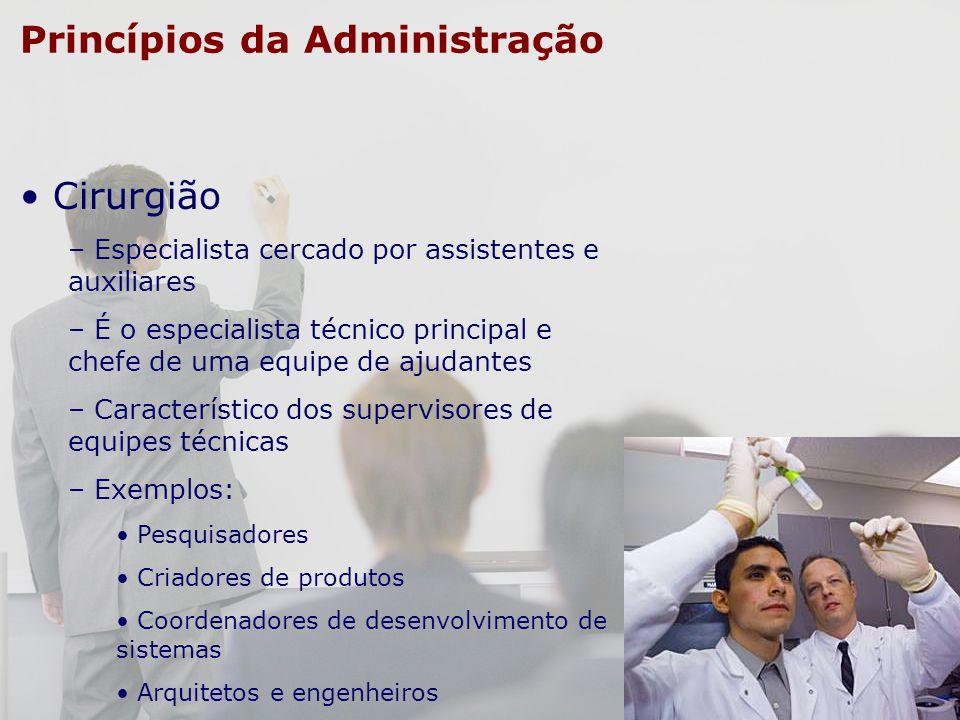 Princípios da Administração Cirurgião – Especialista cercado por assistentes e auxiliares – É o especialista técnico principal e chefe de uma equipe d