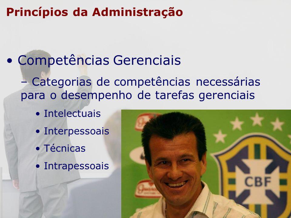 Princípios da Administração Competências Gerenciais – Categorias de competências necessárias para o desempenho de tarefas gerenciais Intelectuais Inte