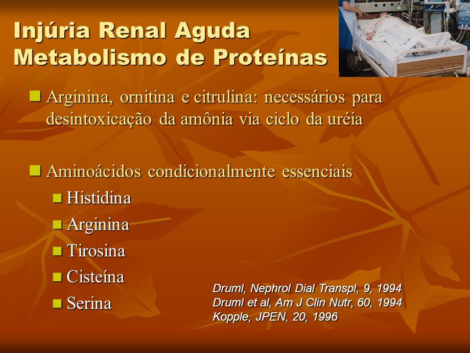 Injúria Renal Aguda Metabolismo de Proteínas Arginina, ornitina e citrulina: necessários para desintoxicação da amônia via ciclo da uréia Arginina, or
